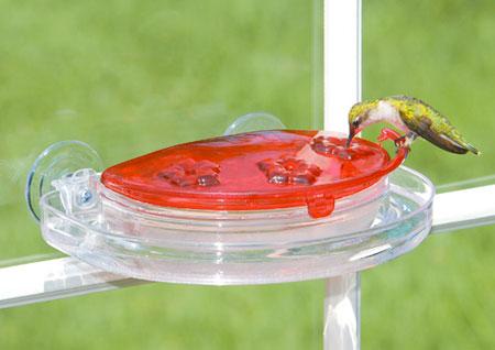 window mounted hummingbird feeder